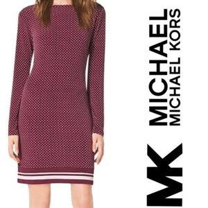 Michael Kors Burgundy Polka Dot Stretch Dress